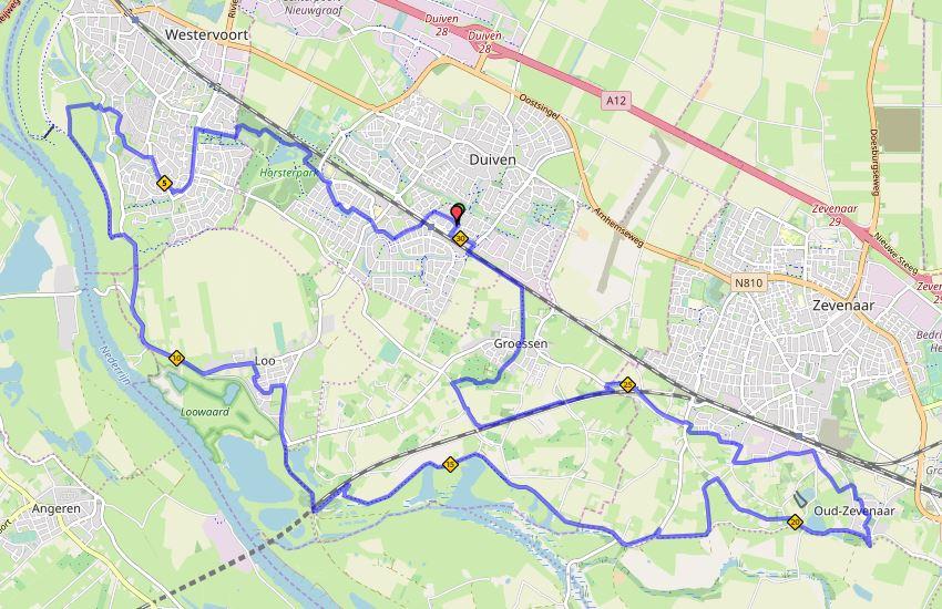 Liemers Posbankloop 30 kilometer route