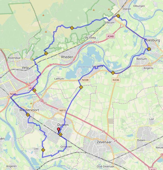 Liemers Posbankloop 50 kilometer route